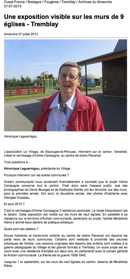 Ouest-France. 7 juillet 2013