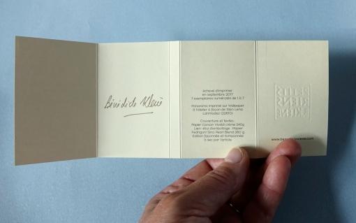 Mini-livre 8 X 5 cm 2 ème et 3 ème de couverture.