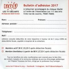 Bulletin adhesion 111 des arts -2017